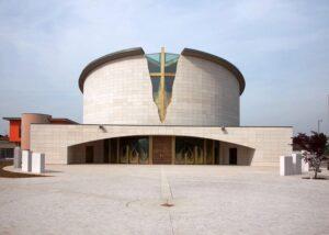 Facciata della chiesa di sant alessandro grassobbio a bergamo rivestita con Marmo Grolla