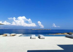 Flooring of a villa in greece made of flamed Grigio Olivo Marble